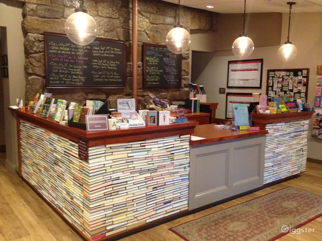 front counter made of books