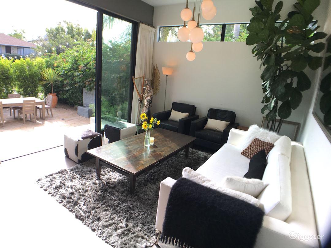 Living room has adjoining patio