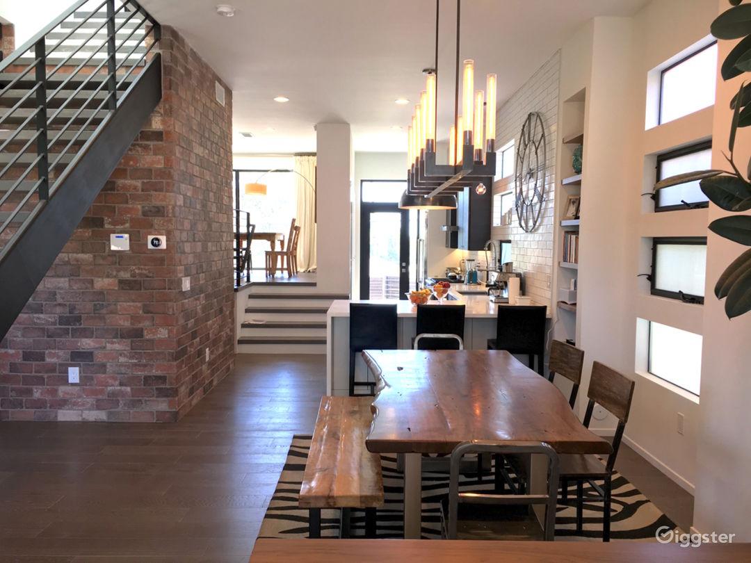 Open concept industrial loft style interior