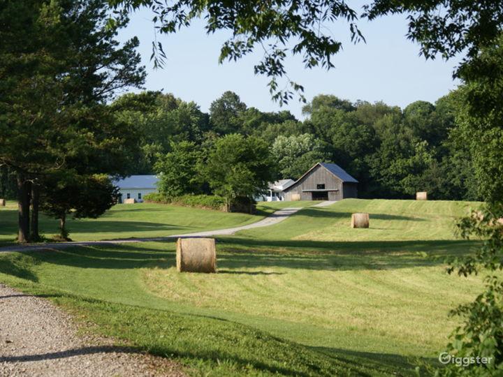 Hay farm setting