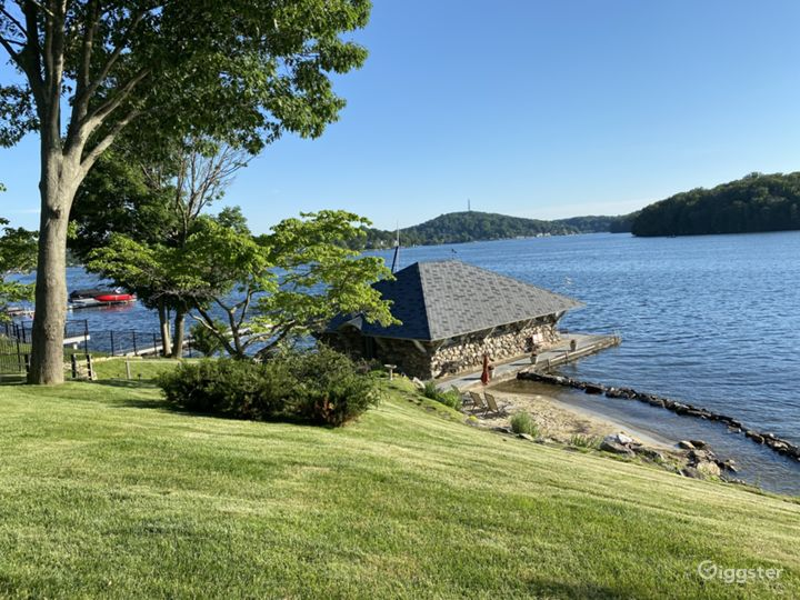 View of Lake and 100+ Yr Old Stone Boat House