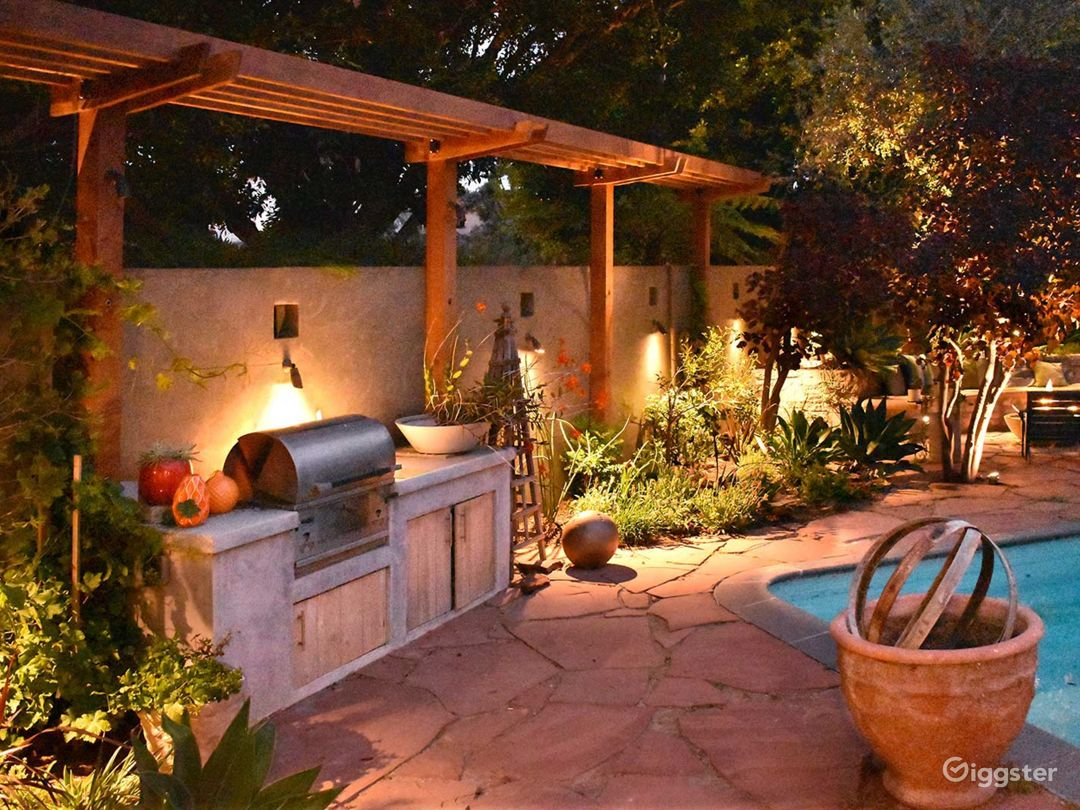 Lighting creates a magical ambience in the garden at night.