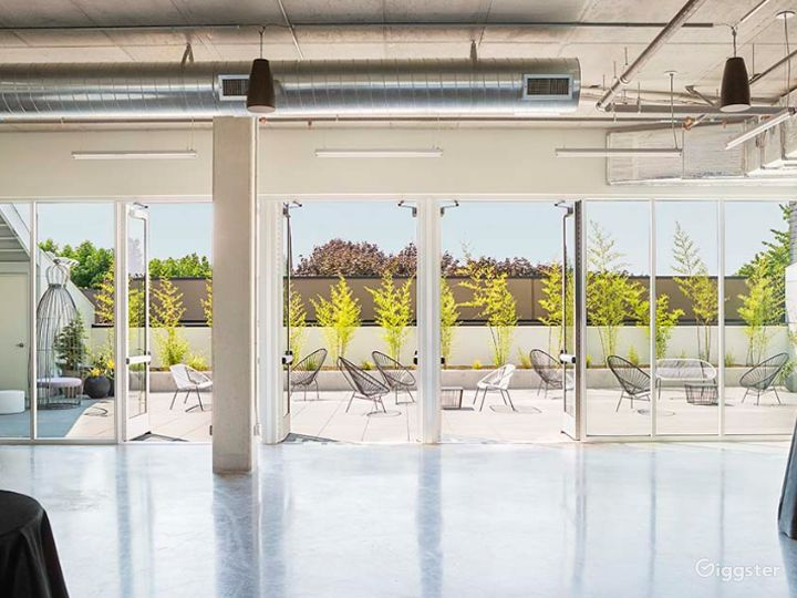 Open and airy industrial ballroom