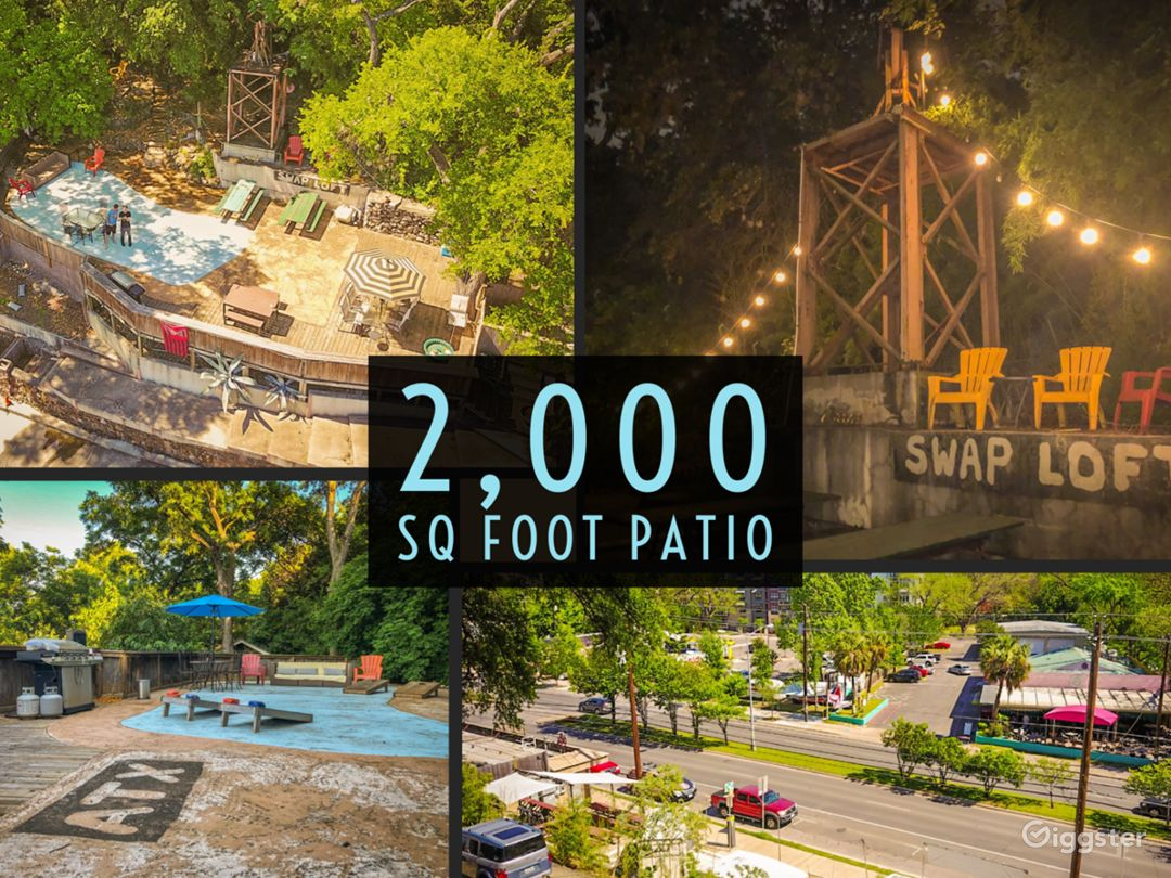 2,000 Sq Foot Patio Overlooking Famous Barton Springs Road