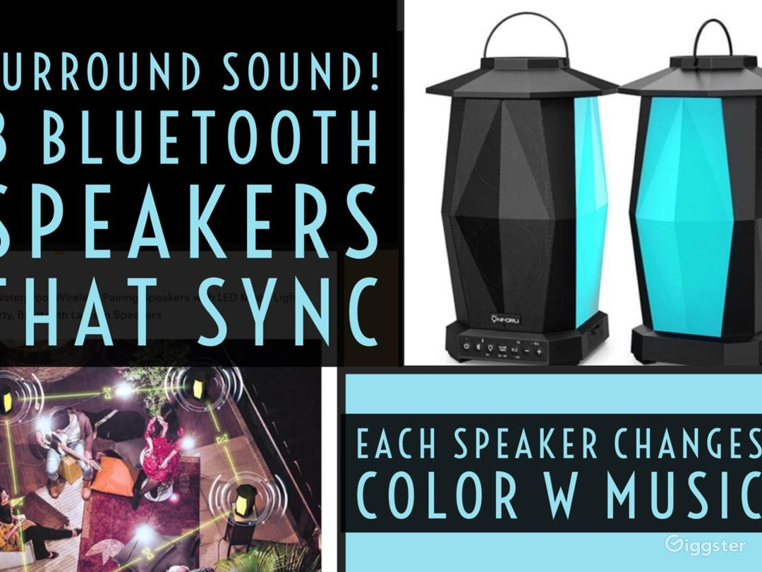 Surround sound to make sure your guests have great sounding music - the speakers change colors with music!