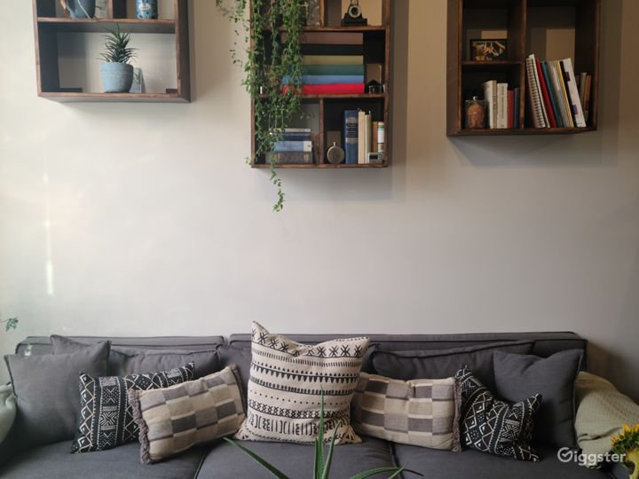 Custom made modern shelves with greenery and various artistic things on them.