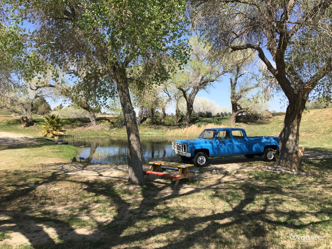 Ranch truck by 3rd and lowest pond, picnic campsite, perfect hammock tree to rest and enjoy cool breeze and pond