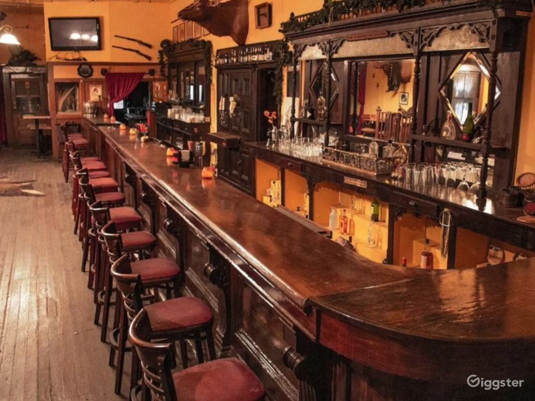 Cowboy Bar and Saloon. Built in mid -1800s. Authentic. Wood Bar. Original woodwork.