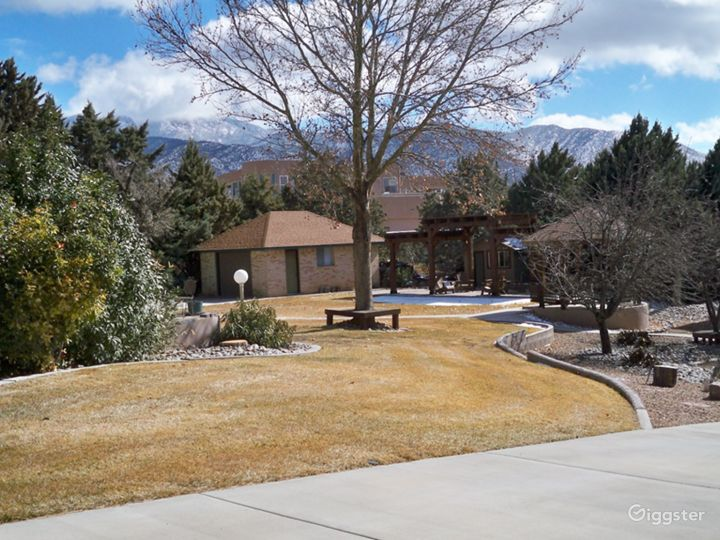 One acre lot provides lot's of landscaped outdoor space for filming and  parking.
