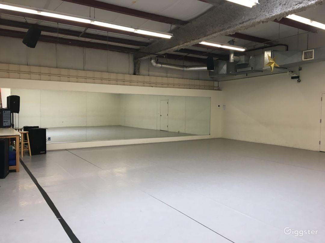 Studio 2 Marley dance floor 40′-1′ x 34′-9″ or 1364 sq ft