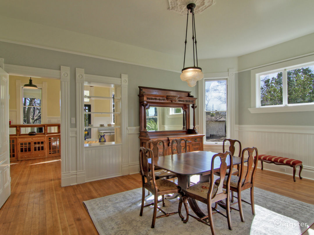 Dining room opens onto kitchen and sitting room