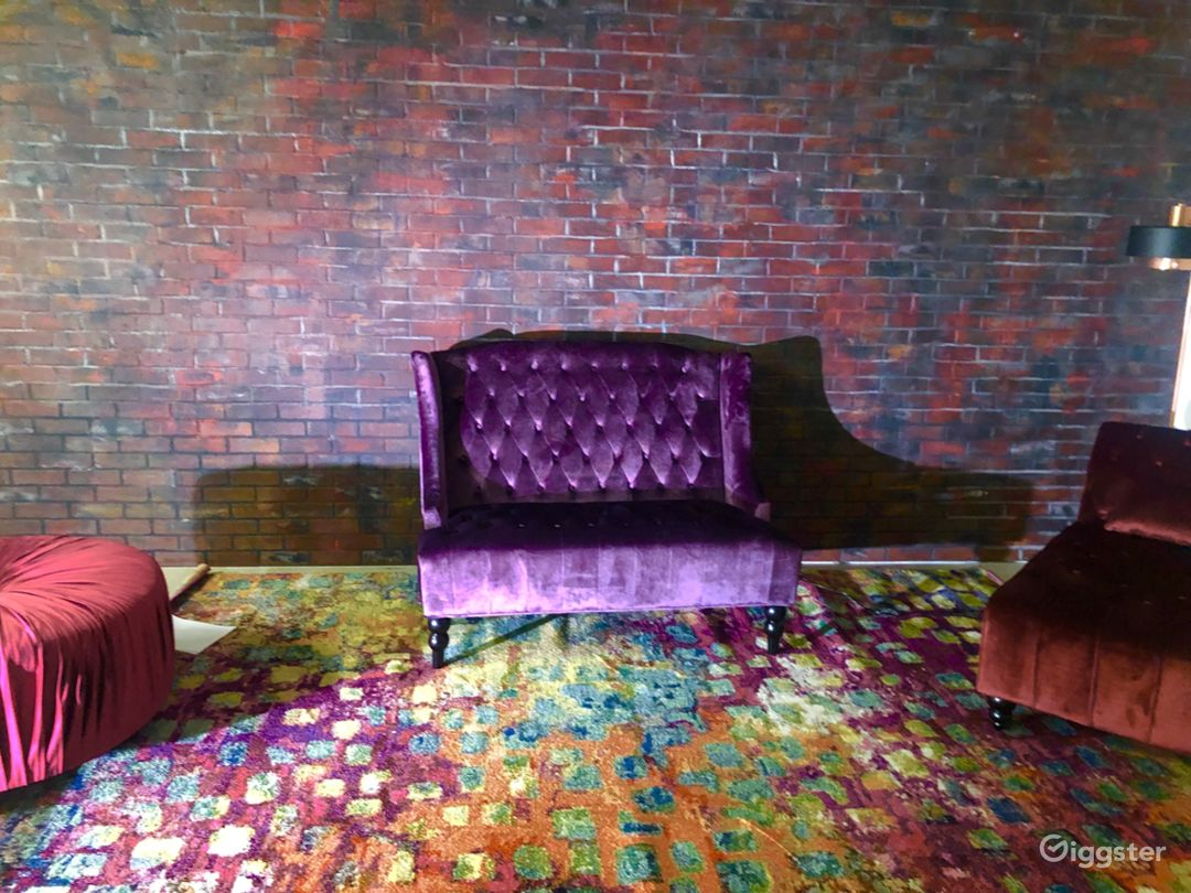 Brick wall with furniture set