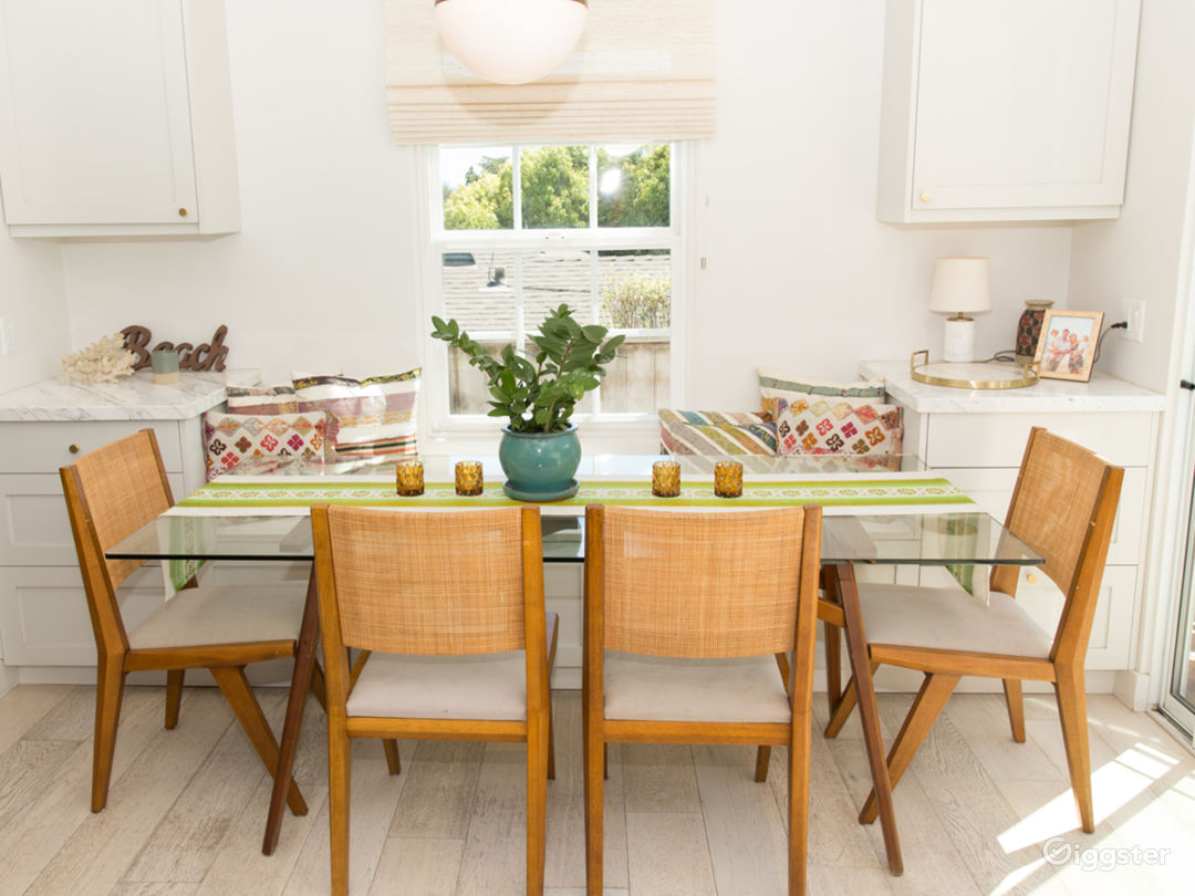 Glass table and banquette