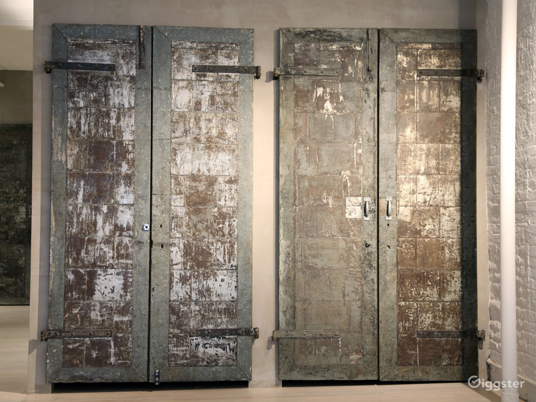 Re-purposed freight elevator doors, and our office behind it.