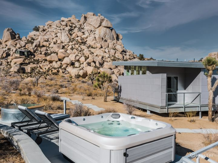 Enjoy a 4 person hot tub just steps away from the home.