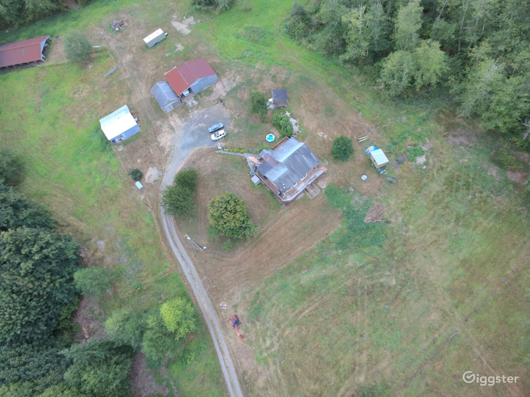 Aerial Drone pic of the buildings & house.
