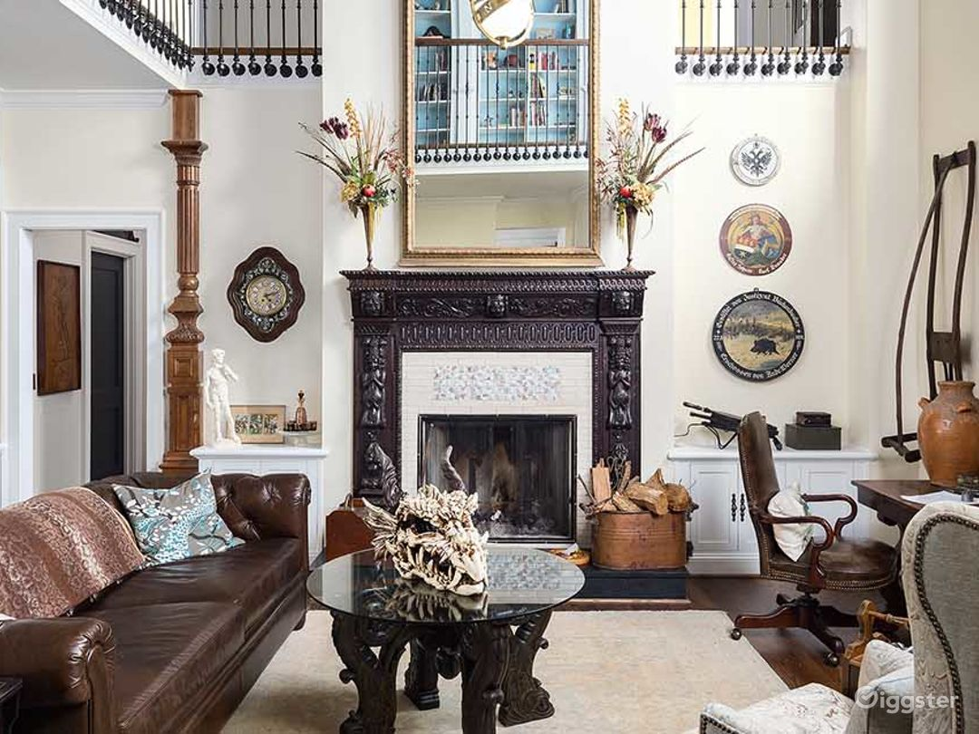 Two story living room/library