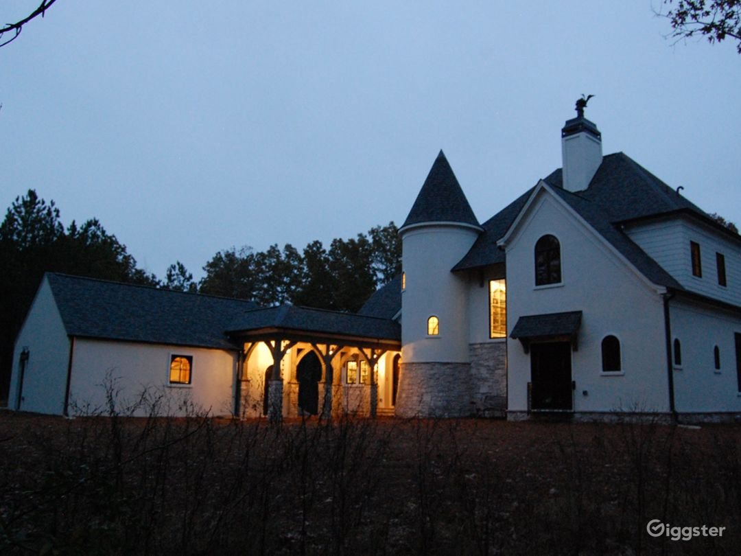 Front of house at dusk