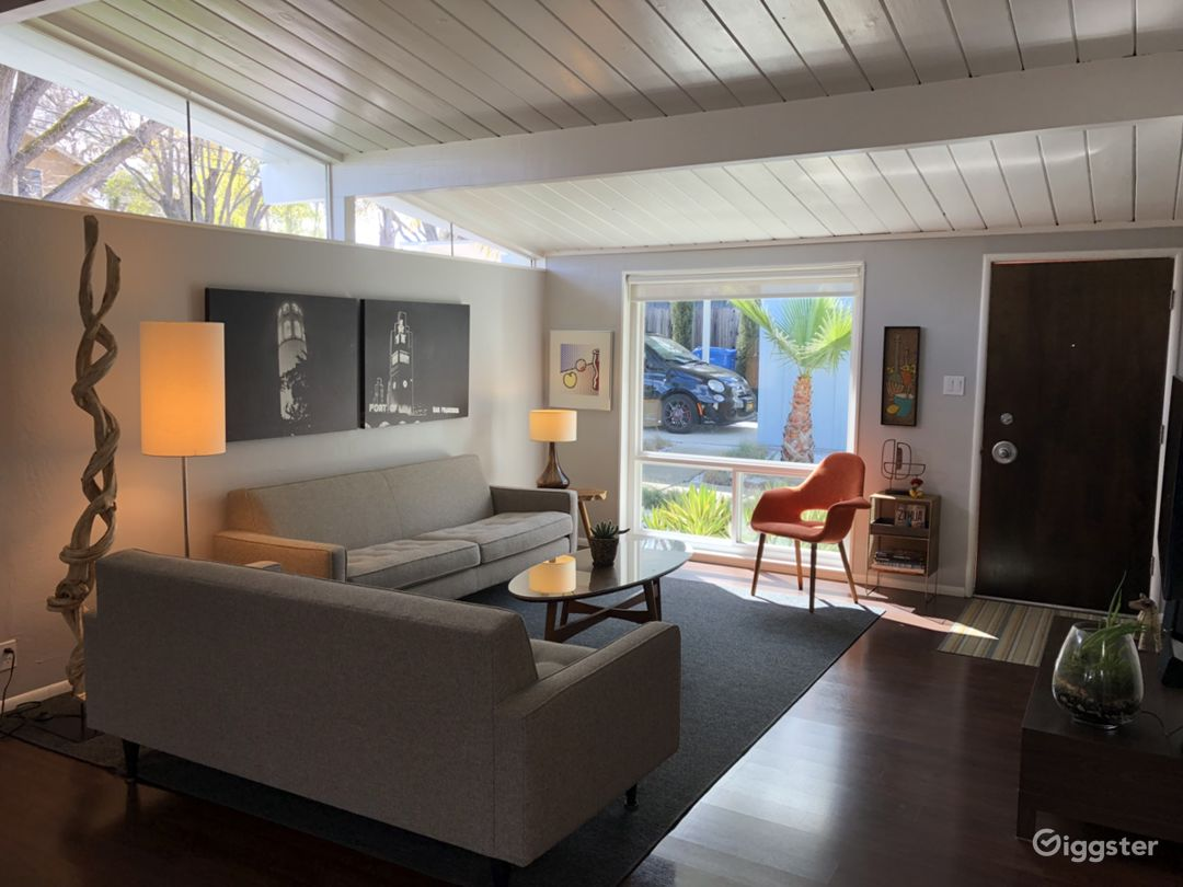 Open Concept Living Room with Clerestory Windows, Post + Beam Ceilings.