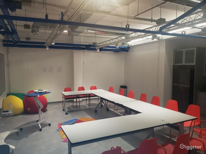 Setup with tables - most walls are pretreated to be used as whiteboards.