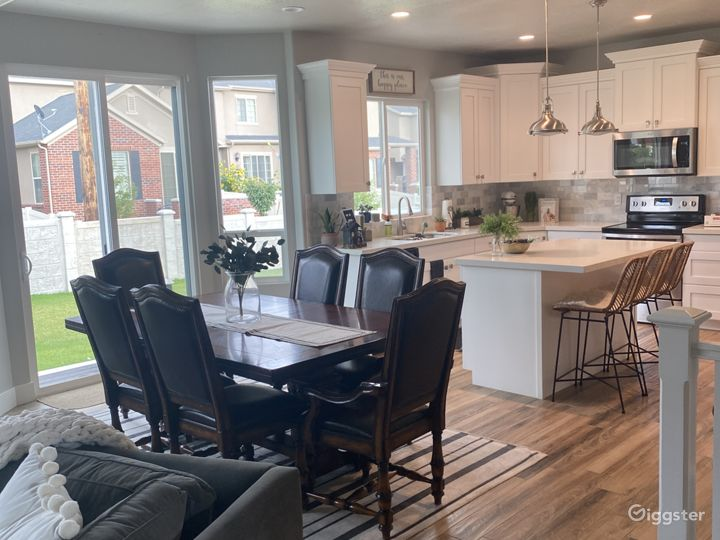 Dining room connected to family room and kitchen.
