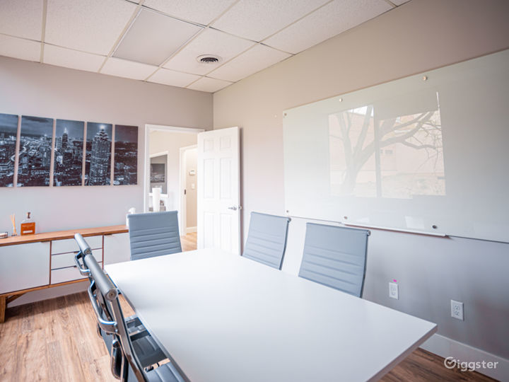 Conference room with white board.