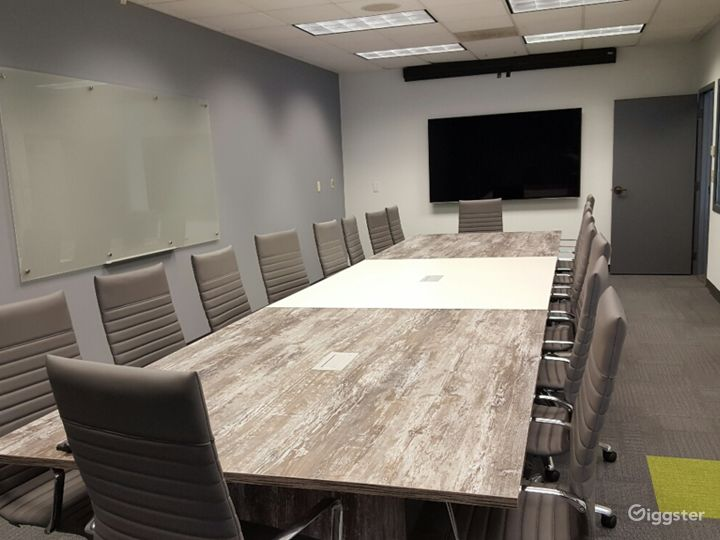 Stone Top with Grey Chairs - AV-Ready for Presentations