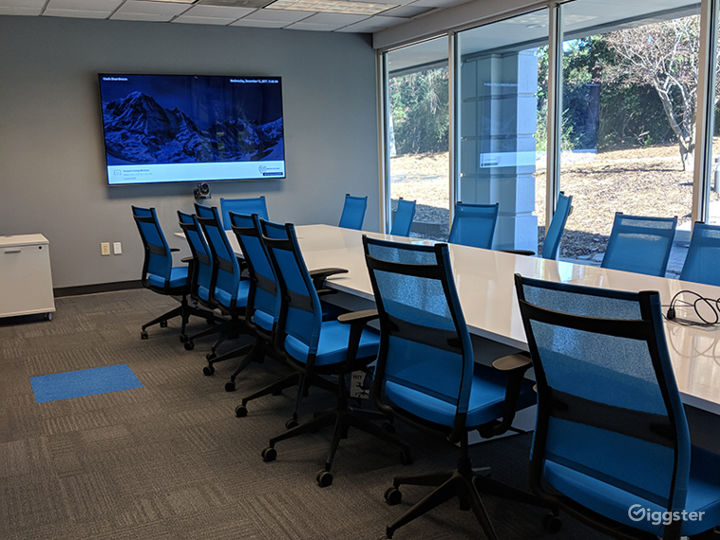 Solid Surface Top with Blue Chairs - AV-Ready for Presentations