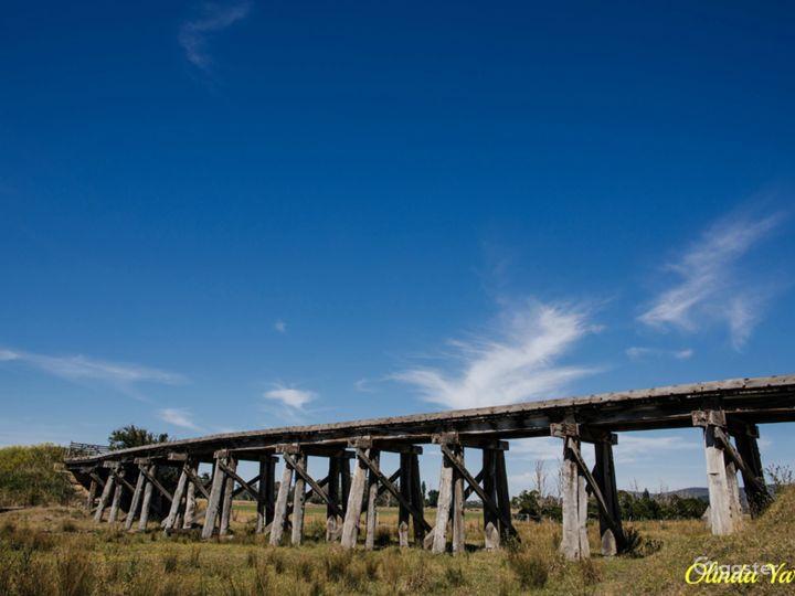 The heritage wooden trestle railway bridge.