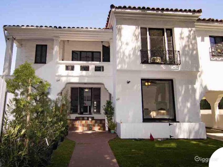 Front view of the Mediterranean villa.
