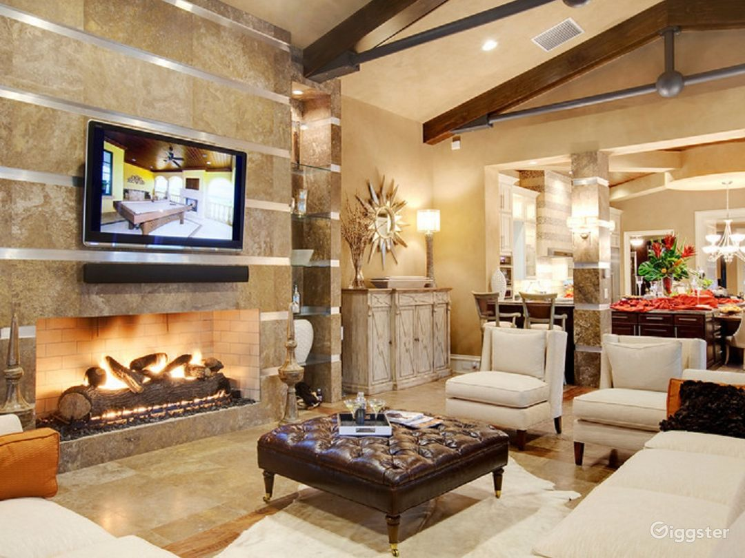 Family room with huge fireplace