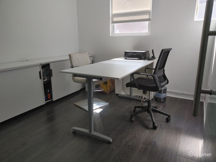 Private Office Space with Glass door, Table, Chair, Storage and Color Printer with WIFI!