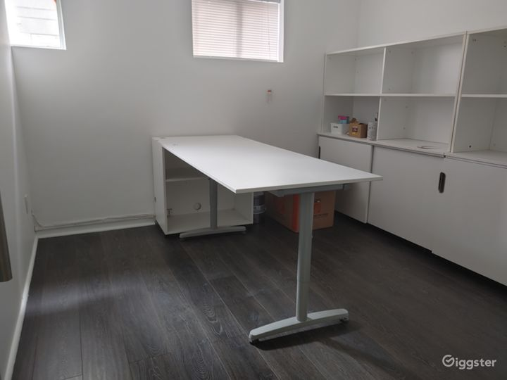 A Third Private Office Space with Glass door, Table, Chair and Storage Area with WIFI!