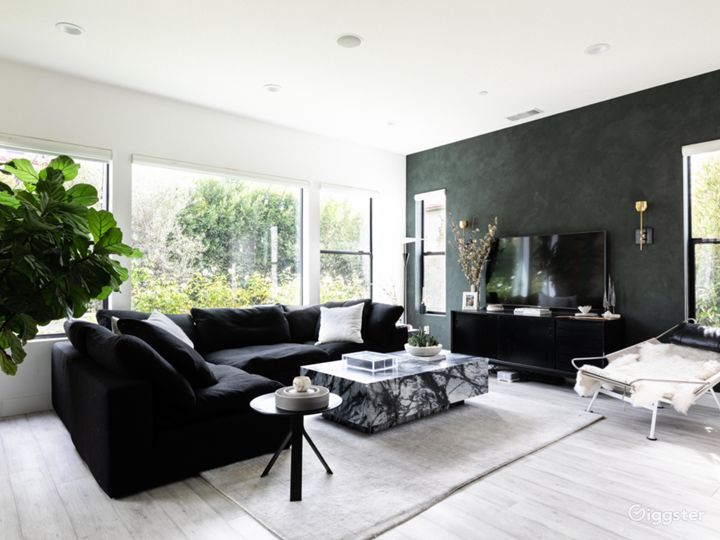 Living Room - one wall is a dark green