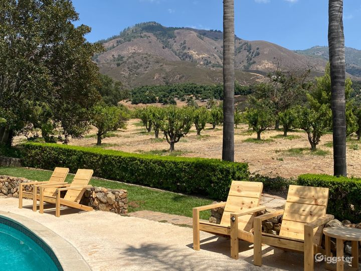 Pool Area overlooking lower 15 acres of the Citrus Groves also has gorgeous views of rambling agricultural acreage that surround the property. Very few neighbors