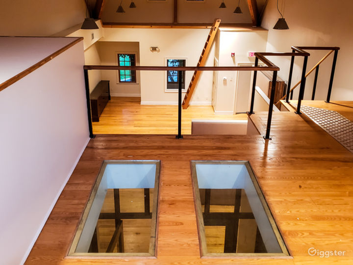 Video Village Loft, overlooking the space. Glass floor panels