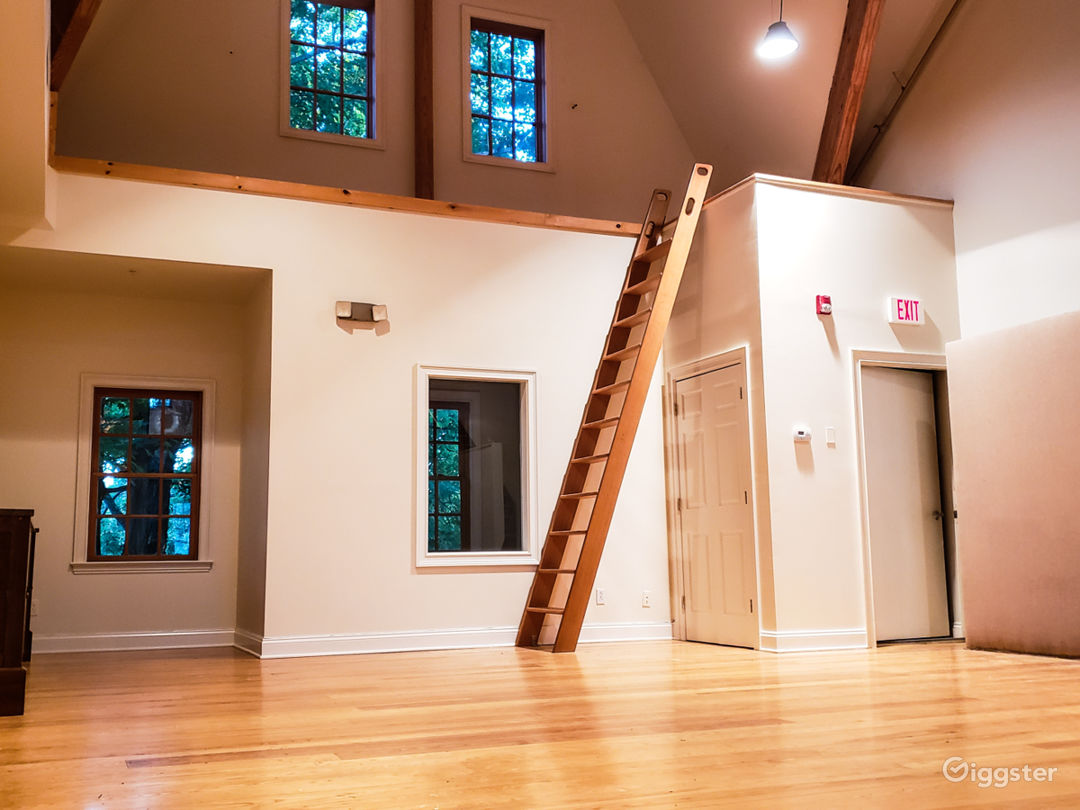 Cathedral Production Space with 35' Ceilings, Catwalk and gleaming hardwood floors