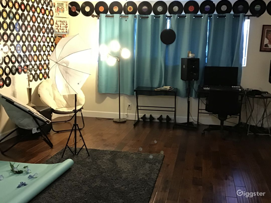 Creative photography + recording studio with queen size bed, bar nook, and ample space.