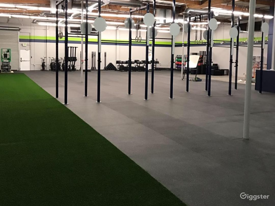 Overall gym spot from the north side of the gym facing parking lot and roll up door