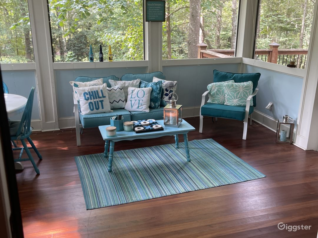 Beautiful all weather screened in sunroom. With ceiling fan so it's never uncomfortable- even on the hottest of days.