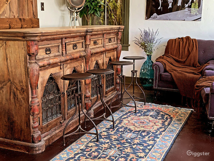 """Hand Carved Bar with salvaged """"confessional"""" doors"""