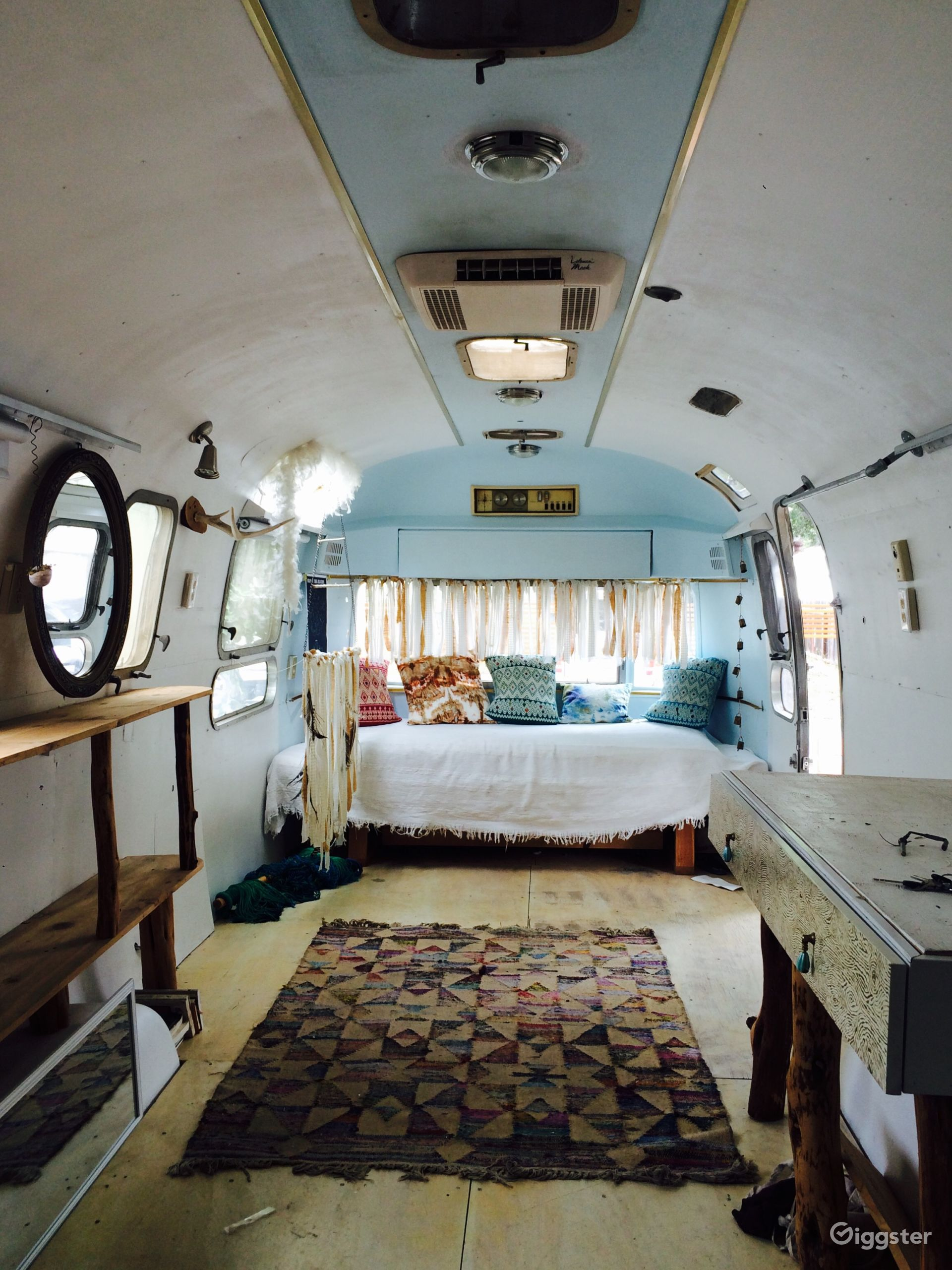"""""""The Sunstream"""" is a vintage fully restored Airstream trailer that we will bring it to you on location, set it up for use and take it away when finished."""