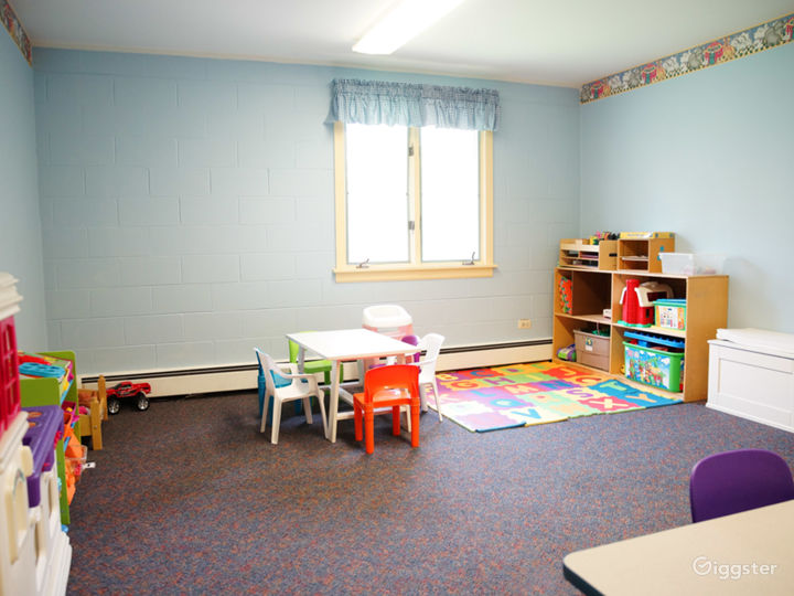 The room is adjacent to our nursery for those time when a group needs a second space for little people
