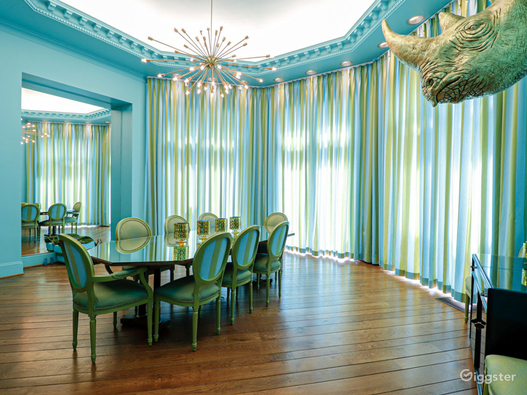 Tiffany blue octagonal room with 20+ ft ceilings, concave ceilings, hand poured plaster trim,  diagonal pegged floors.