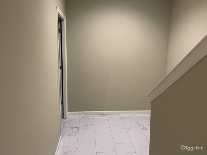Basement hallway. Marble floors