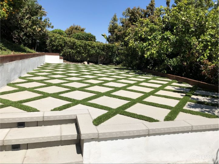 Beautiful lower terrace surrounded by fruit trees
