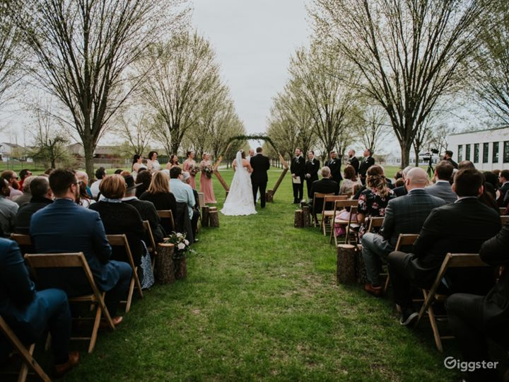 Packard Proving Grounds - outdoor ceremony in the spring on the boulevard