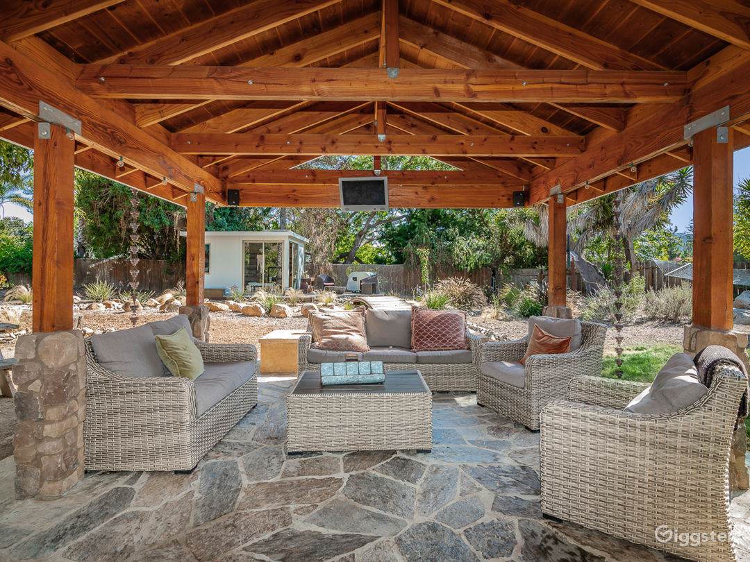 Back patio with lounge seating, gas fire pit and outdoor tv