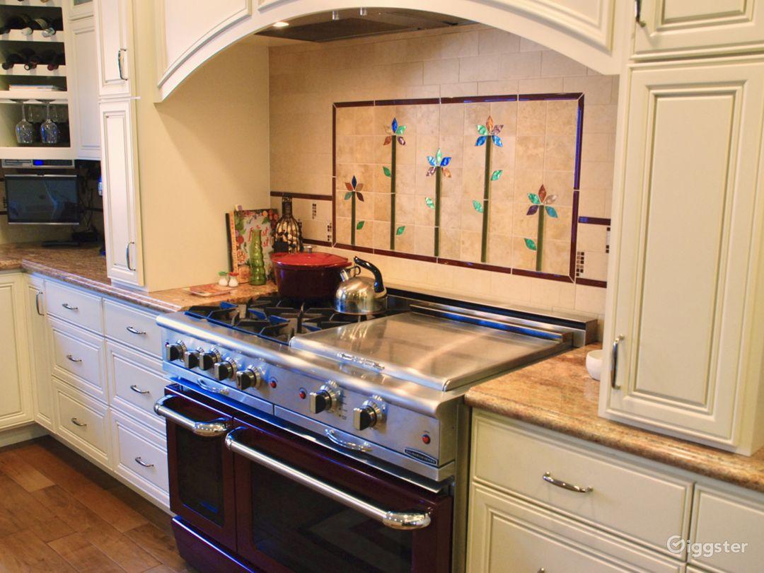 "Beautiful 48"" professional burgundy stove/ovens."