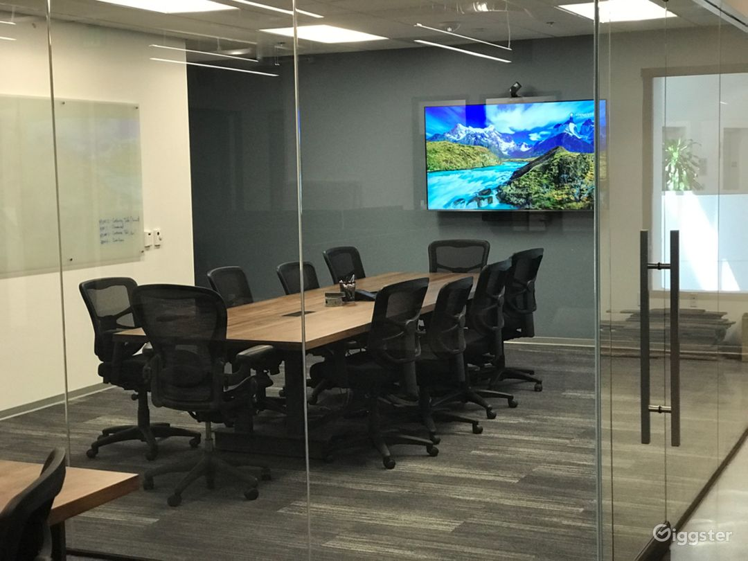 Very large conference room with two floor-to-ceiling glass walls. Often we see the cameras on the outside shooting through the glass. Virtually sound proof inside conference room (TV can display still or video images).